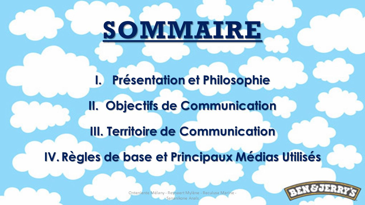 SOMMAIRE I.Présentation et Philosophie II.Objectifs de Communication III.Territoire de Communication IV.Règles de base et Principaux Médias Utilisés O