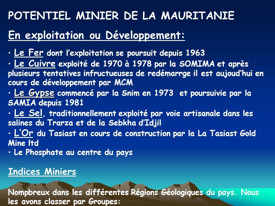 POTENTIEL MINIER DE LA MAURITANIE En exploitation ou Développement: Le Fer dont lexploitation se poursuit depuis 1963 Le Cuivre exploité de 1970 à 197