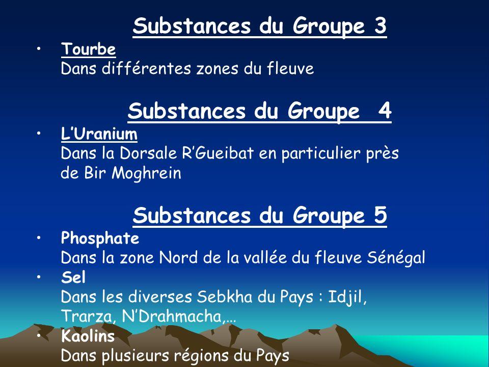 Substances du Groupe 3 Tourbe Dans différentes zones du fleuve Substances du Groupe 4 LUranium Dans la Dorsale RGueibat en particulier près de Bir Mog