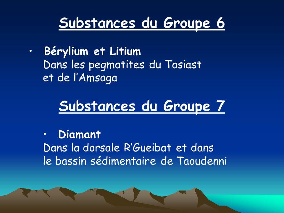 Substances du Groupe 6 Bérylium et Litium Dans les pegmatites du Tasiast et de lAmsaga Substances du Groupe 7 Diamant Dans la dorsale RGueibat et dans