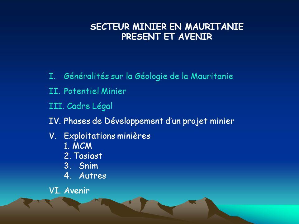 SECTEUR MINIER EN MAURITANIE PRESENT ET AVENIR I.Généralités sur la Géologie de la Mauritanie II.Potentiel Minier III. Cadre Légal IV.Phases de Dévelo