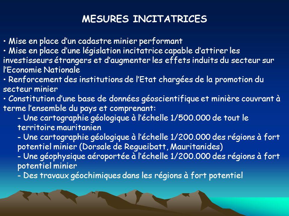 MESURES INCITATRICES Mise en place dun cadastre minier performant Mise en place dune législation incitatrice capable dattirer les investisseurs étrang