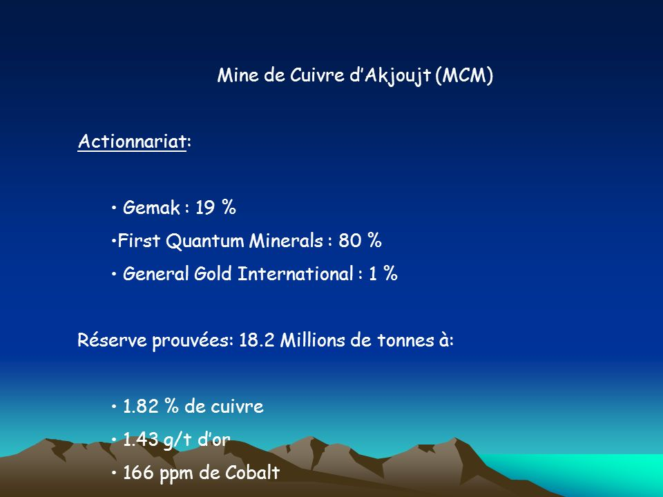 Mine de Cuivre dAkjoujt (MCM) Actionnariat: Gemak : 19 % First Quantum Minerals : 80 % General Gold International : 1 % Réserve prouvées: 18.2 Million