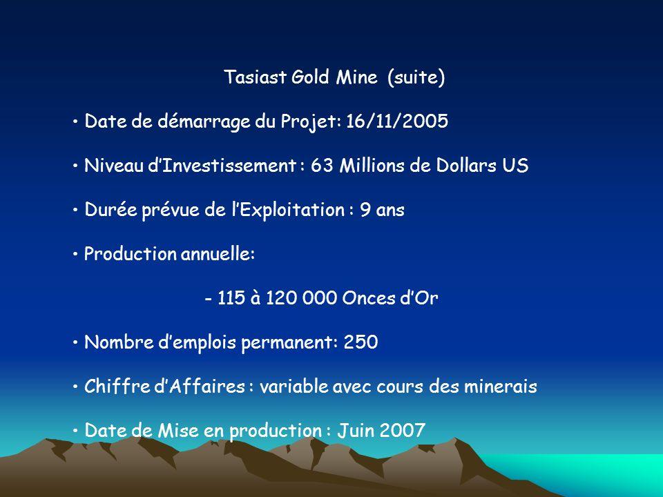 Tasiast Gold Mine (suite) Date de démarrage du Projet: 16/11/2005 Niveau dInvestissement : 63 Millions de Dollars US Durée prévue de lExploitation : 9