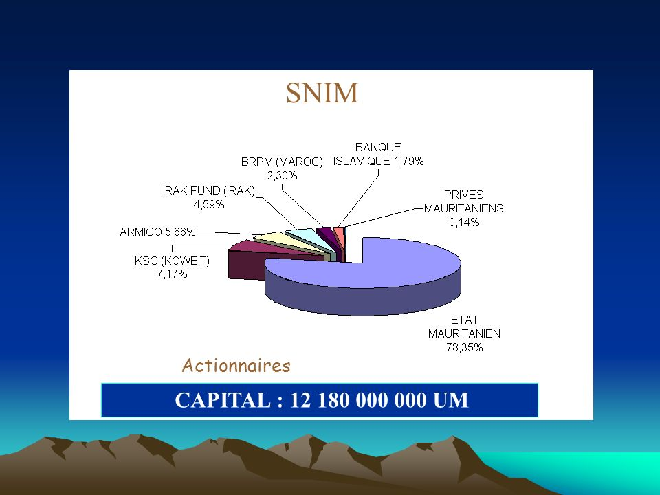 SNIM CAPITAL : 12 180 000 000 UM Actionnaires