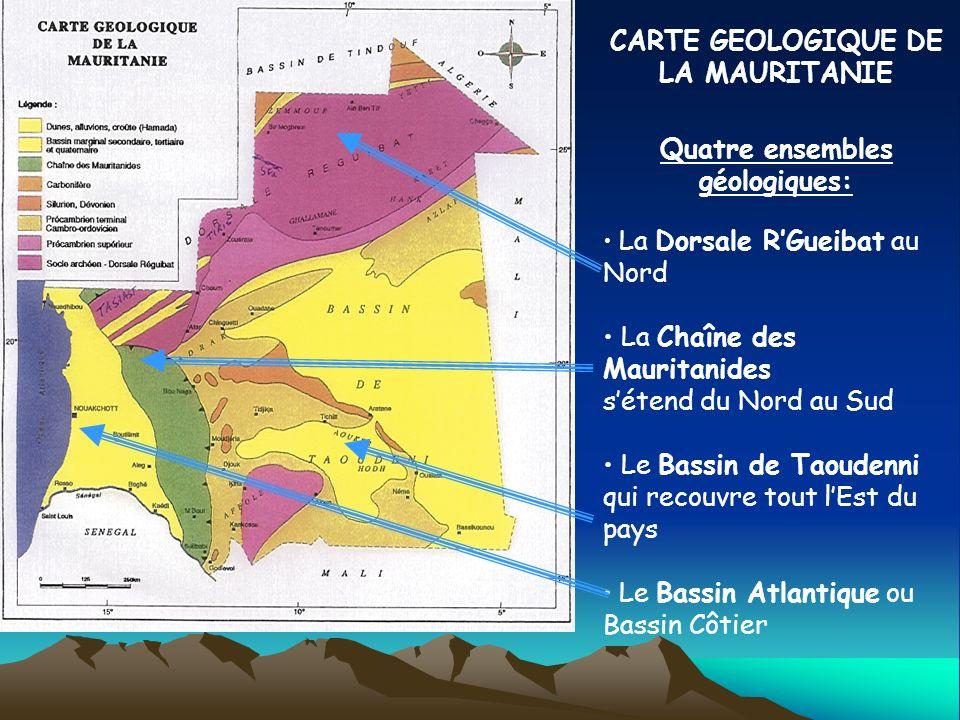 CARTE GEOLOGIQUE DE LA MAURITANIE Quatre ensembles géologiques: La Dorsale RGueibat au Nord La Chaîne des Mauritanides sétend du Nord au Sud Le Bassin