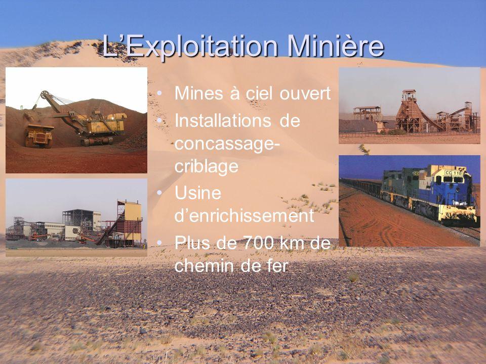 Mines à ciel ouvert Installations de concassage- criblage Usine denrichissement Plus de 700 km de chemin de fer