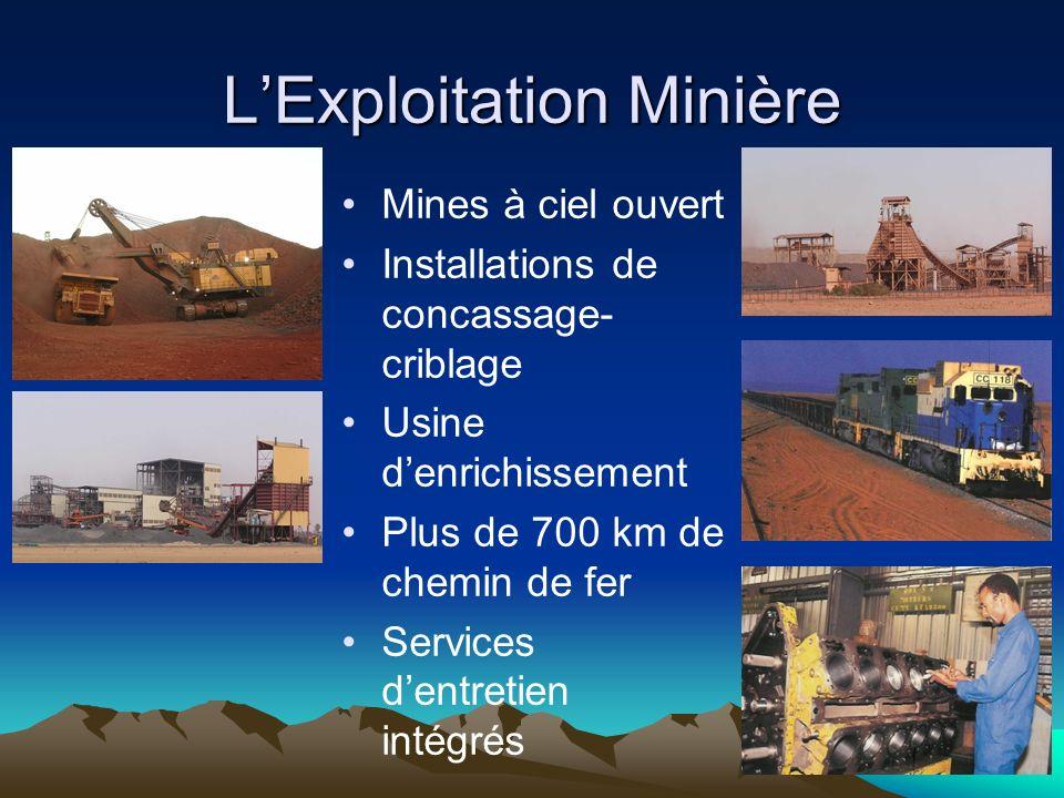 Mines à ciel ouvert Installations de concassage- criblage Usine denrichissement Plus de 700 km de chemin de fer Services dentretien intégrés LExploita