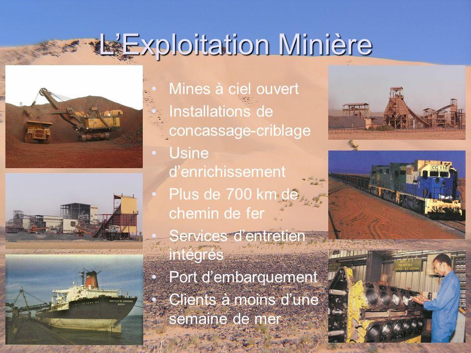 Mines à ciel ouvert Installations de concassage-criblage Usine denrichissement Plus de 700 km de chemin de fer Services dentretien intégrés Port demba