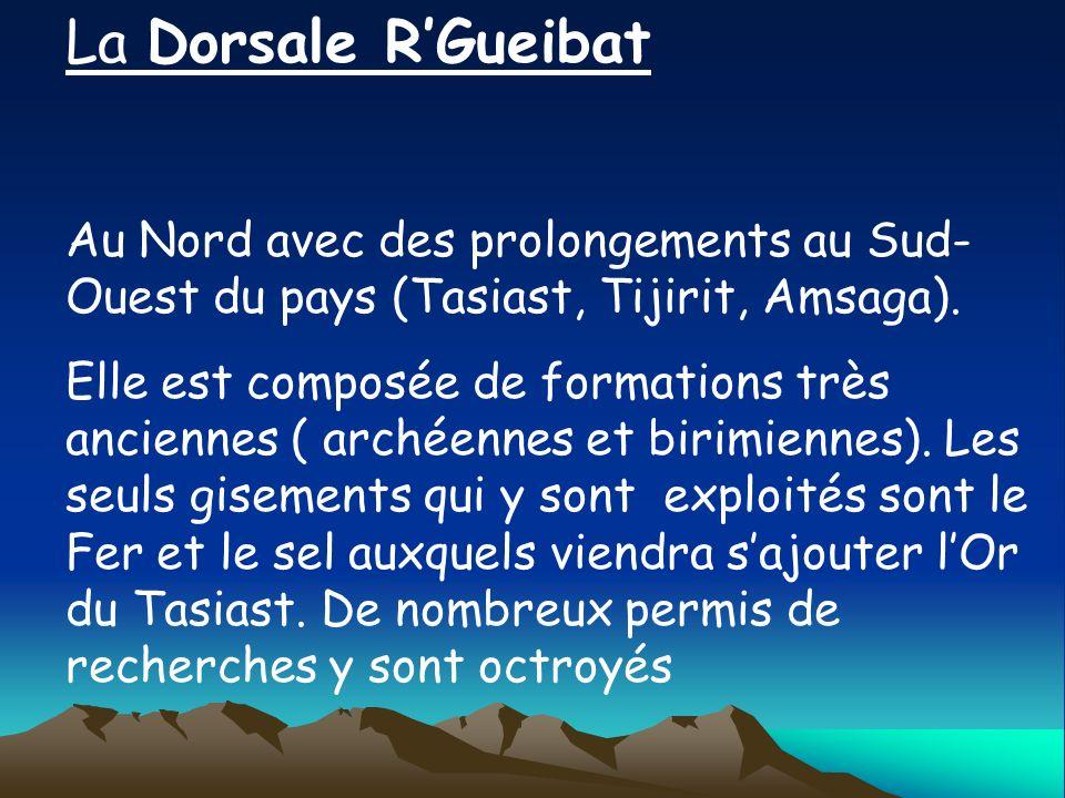 La Dorsale RGueibat Au Nord avec des prolongements au Sud- Ouest du pays (Tasiast, Tijirit, Amsaga). Elle est composée de formations très anciennes (