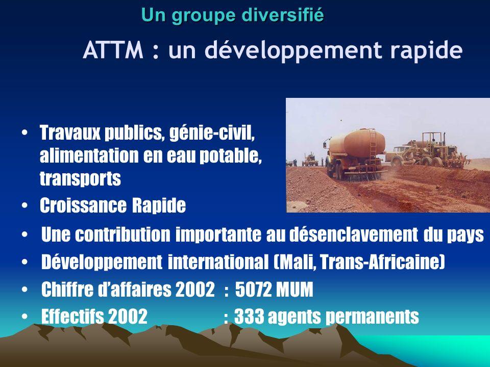 ATTM : un développement rapide Travaux publics, génie-civil, alimentation en eau potable, transports Croissance Rapide Un groupe diversifié Une contri