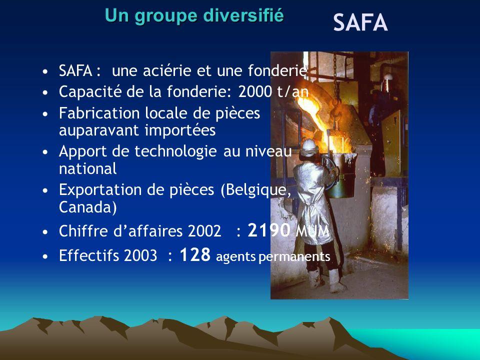 SAFA : une aciérie et une fonderie Capacité de la fonderie: 2000 t/an Fabrication locale de pièces auparavant importées Apport de technologie au nivea