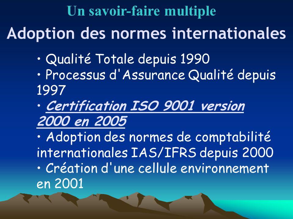 Adoption des normes internationales Un savoir-faire multiple Qualité Totale depuis 1990 Processus d'Assurance Qualité depuis 1997 Certification ISO 90
