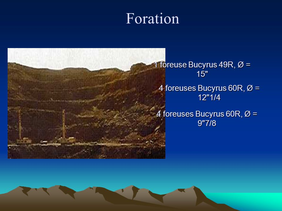 Foration 1 foreuse Bucyrus 49R, Ø = 15 4 foreuses Bucyrus 60R, Ø = 12 1/4 4 foreuses Bucyrus 60R, Ø = 9 7/8