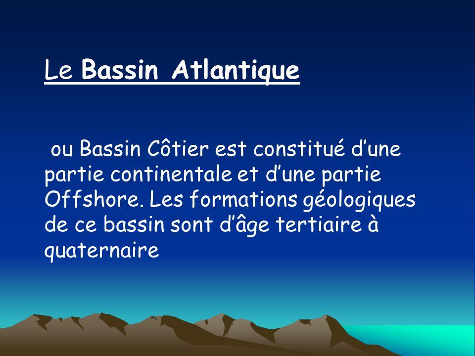Le Bassin Atlantique ou Bassin Côtier est constitué dune partie continentale et dune partie Offshore. Les formations géologiques de ce bassin sont dâg