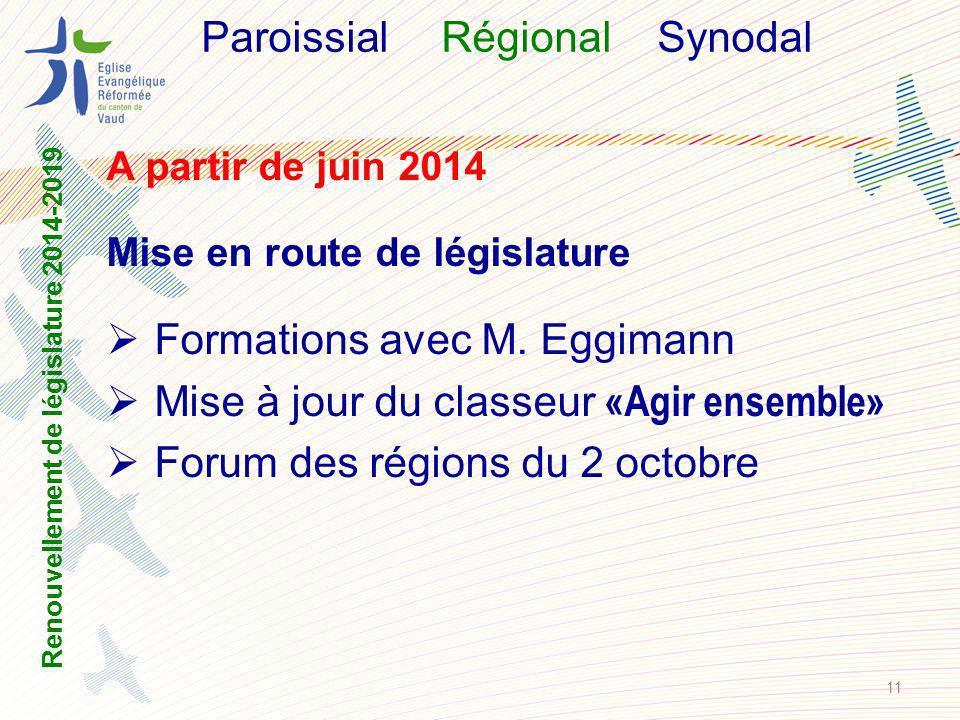 ParoissialRégional Synodal A partir de juin 2014 Mise en route de législature Formations avec M.