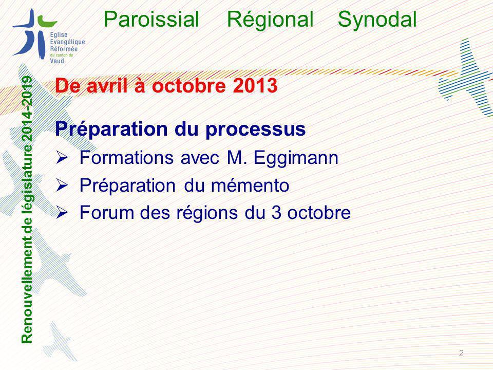 ParoissialRégional Synodal 10-15 novembre 2013 Assemblée régionale ordinaire Fixer le nombre de membres du CR RE49 – minimum 3 laïcs Renouvellement de législature 2014-2019 3