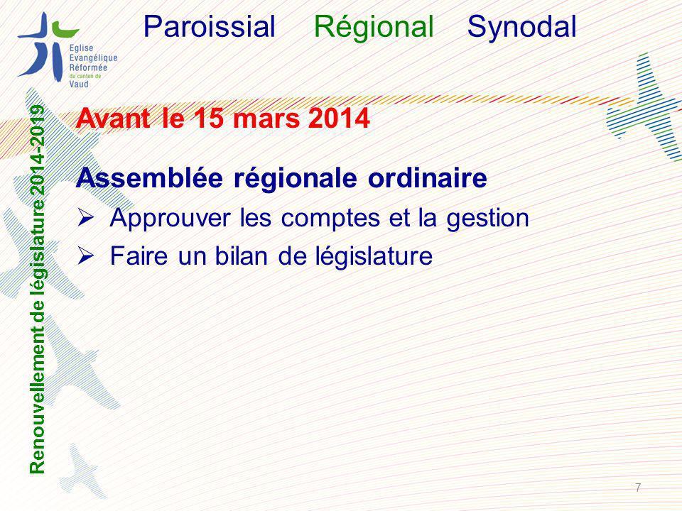 ParoissialRégional Synodal Avant le 15 mars 2014 Assemblée régionale ordinaire Approuver les comptes et la gestion Faire un bilan de législature Renouvellement de législature 2014-2019 7