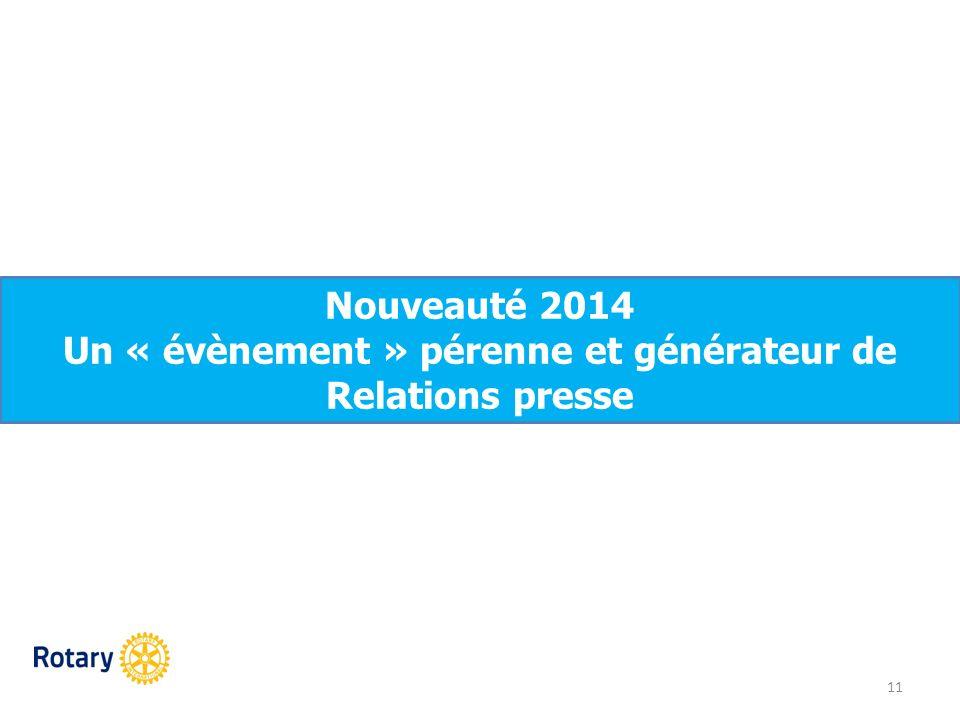 11 Nouveauté 2014 Un « évènement » pérenne et générateur de Relations presse