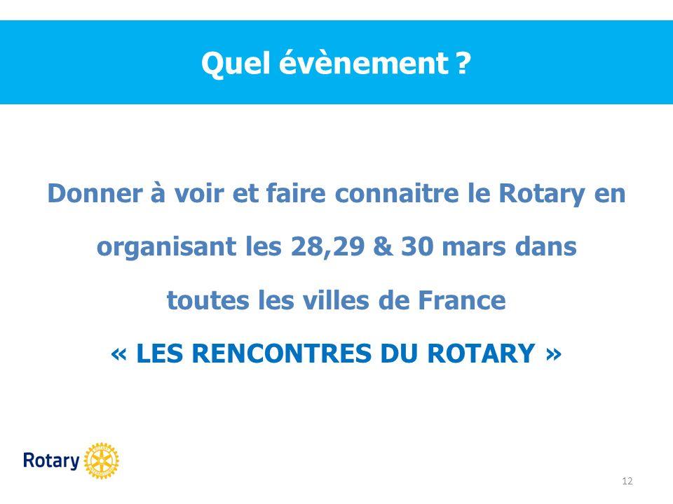 Quel évènement ? Donner à voir et faire connaitre le Rotary en organisant les 28,29 & 30 mars dans toutes les villes de France « LES RENCONTRES DU ROT
