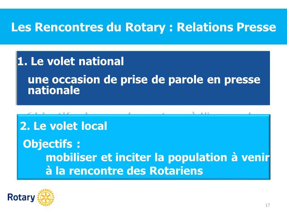 Les Rencontres du Rotary : Relations Presse 1. Le volet national une occasion de prise de parole en presse nationale Objectif : donner du contenu à li