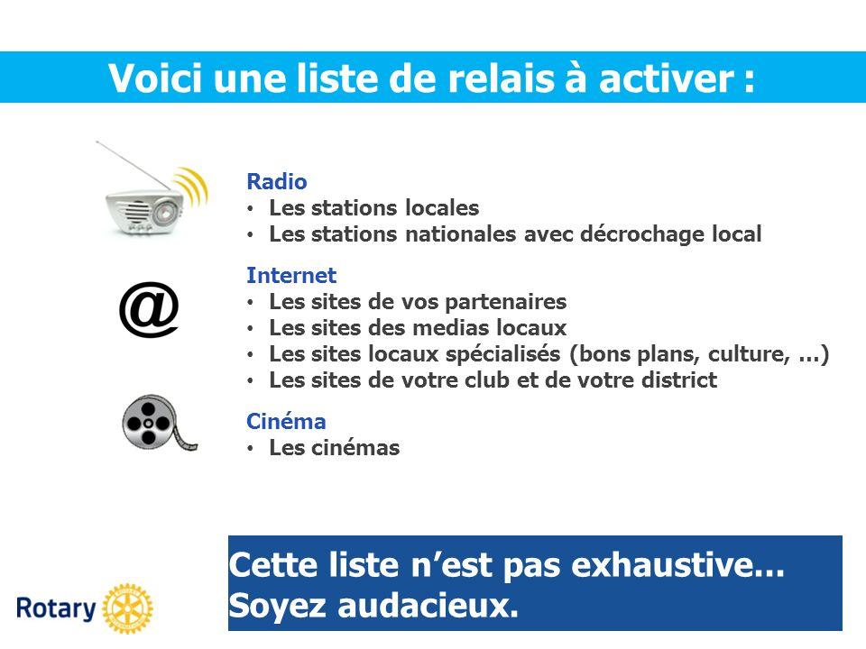 Radio Les stations locales Les stations nationales avec décrochage local Internet Les sites de vos partenaires Les sites des medias locaux Les sites l