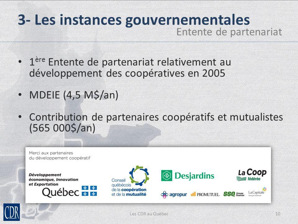 Les CDR au Québec10 3- Les instances gouvernementales Entente de partenariat 1 ère Entente de partenariat relativement au développement des coopératives en 2005 MDEIE (4,5 M$/an) Contribution de partenaires coopératifs et mutualistes (565 000$/an)