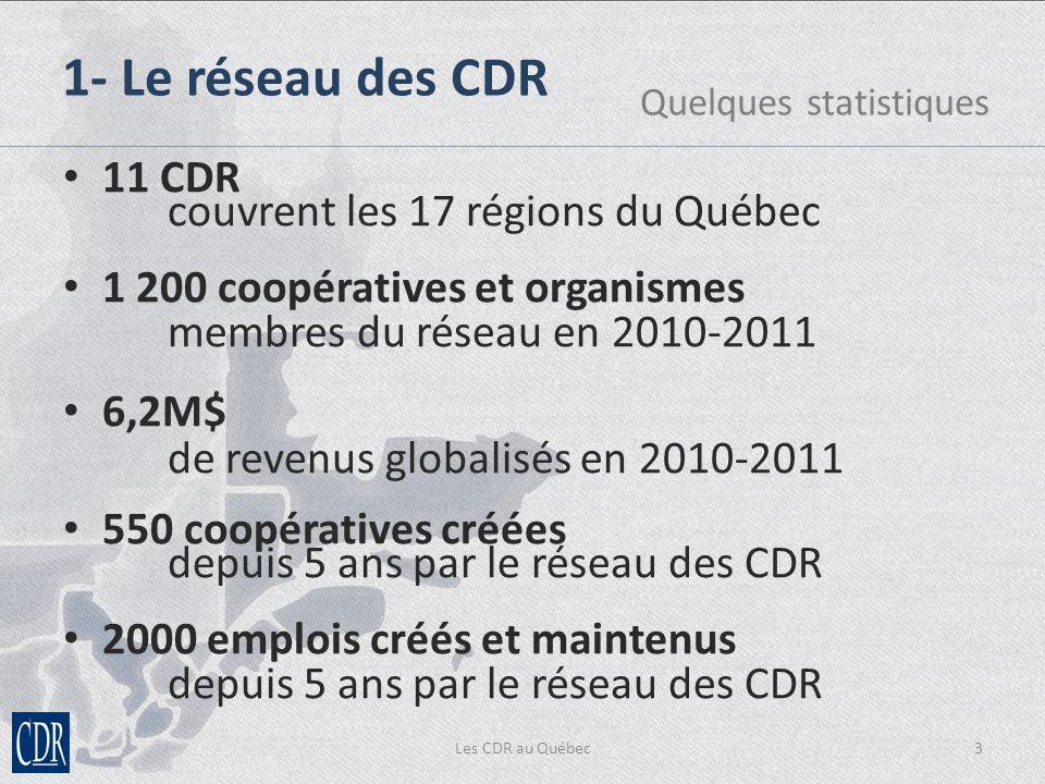 Les CDR au Québec3 1- Le réseau des CDR Quelques statistiques 11 CDR couvrent les 17 régions du Québec 1 200 coopératives et organismes membres du réseau en 2010-2011 6,2M$ de revenus globalisés en 2010-2011 550 coopératives créées depuis 5 ans par le réseau des CDR 2000 emplois créés et maintenus depuis 5 ans par le réseau des CDR
