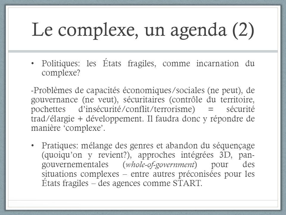 Le complexe, un agenda (2) Politiques: les États fragiles, comme incarnation du complexe? -Problèmes de capacités économiques/sociales (ne peut), de g