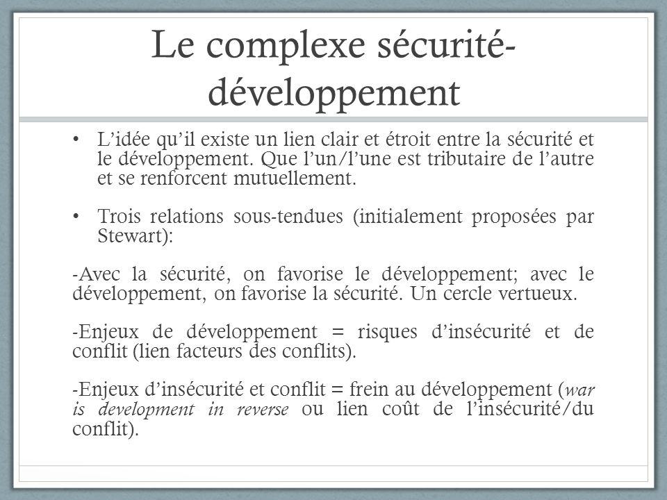 Le complexe sécurité- développement Lidée quil existe un lien clair et étroit entre la sécurité et le développement. Que lun/lune est tributaire de la