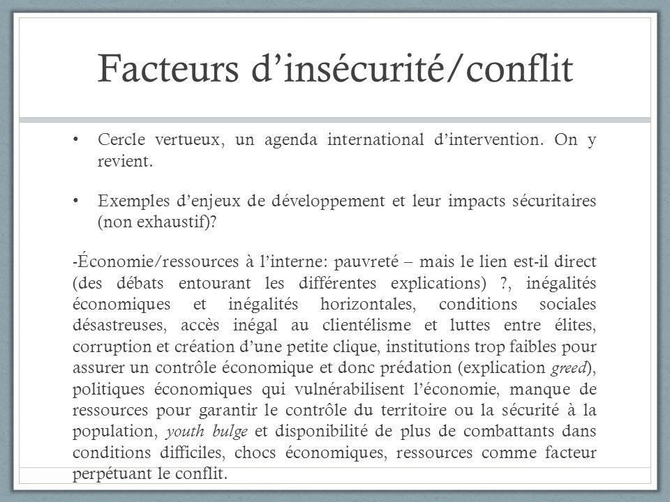 Facteurs dinsécurité/conflit Cercle vertueux, un agenda international dintervention. On y revient. Exemples denjeux de développement et leur impacts s