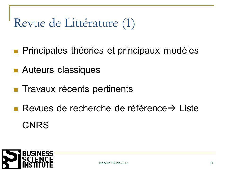 Revue de littérature (2) Synthèse de la littérature 2 possibilités 1) La littérature nous permet de poser des hypothèses que lon va vérifier sur le terrain (raisonnement déductif) 2) La littérature ne nous permet pas de poser des hypothèses.