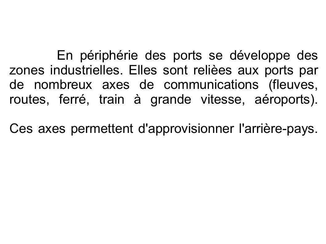 En périphérie des ports se développe des zones industrielles. Elles sont relièes aux ports par de nombreux axes de communications (fleuves, routes, fe