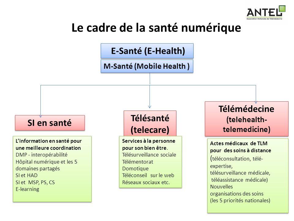 Le cadre de la santé numérique E-Santé (E-Health) SI en santé Télésanté (telecare) Télésanté (telecare) Télémédecine (telehealth- telemedicine) Linfor