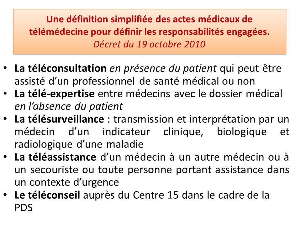 Une définition simplifiée des actes médicaux de télémédecine pour définir les responsabilités engagées. Décret du 19 octobre 2010 La téléconsultation