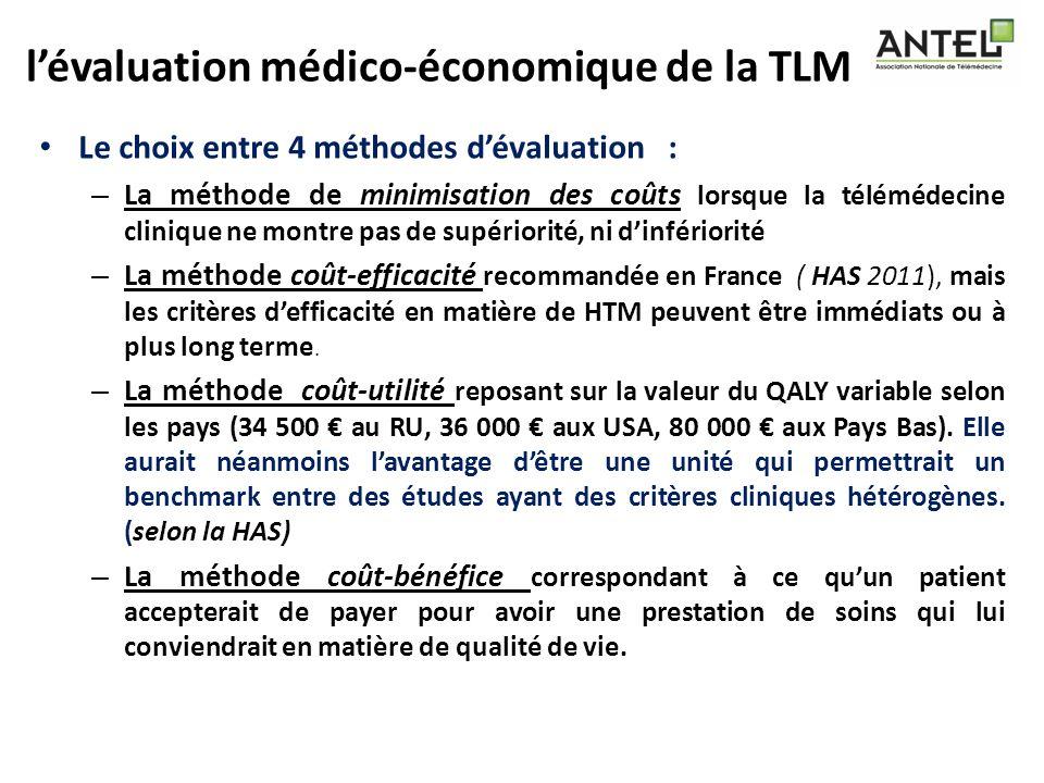 lévaluation médico-économique de la TLM Le choix entre 4 méthodes dévaluation : – La méthode de minimisation des coûts lorsque la télémédecine cliniqu