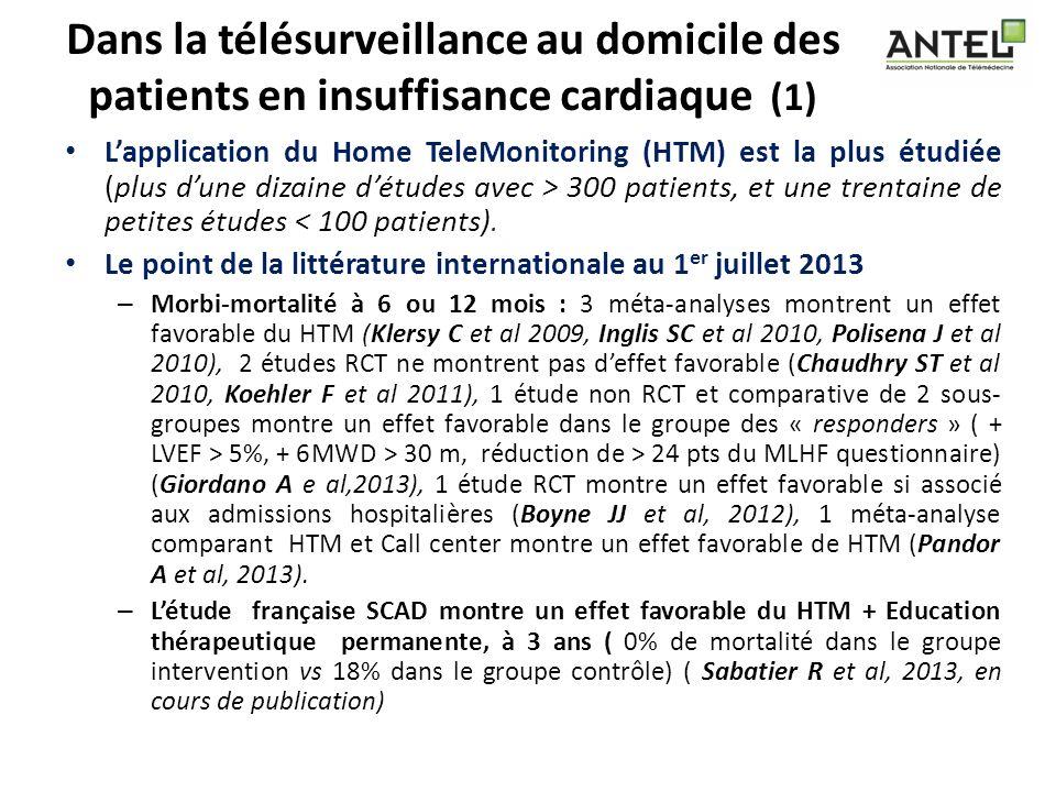 Dans la télésurveillance au domicile des patients en insuffisance cardiaque (1) Lapplication du Home TeleMonitoring (HTM) est la plus étudiée (plus du