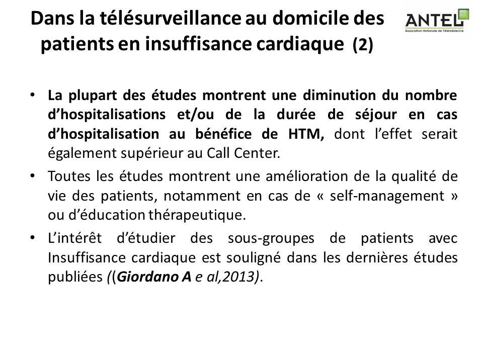 Dans la télésurveillance au domicile des patients en insuffisance cardiaque (2) La plupart des études montrent une diminution du nombre dhospitalisati