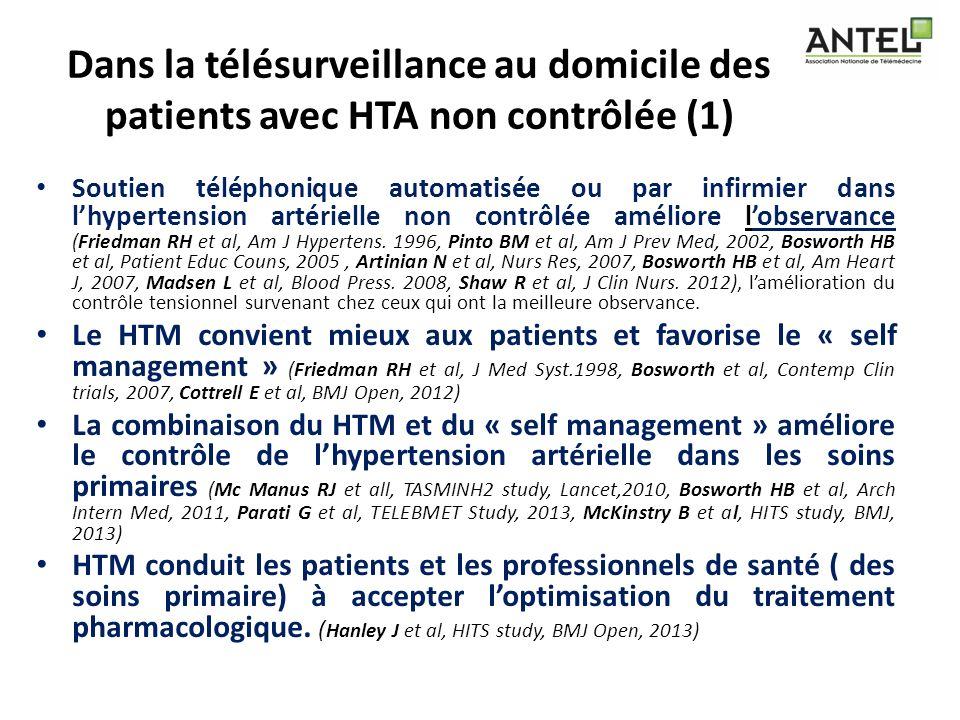 Dans la télésurveillance au domicile des patients avec HTA non contrôlée (1) Soutien téléphonique automatisée ou par infirmier dans lhypertension arté