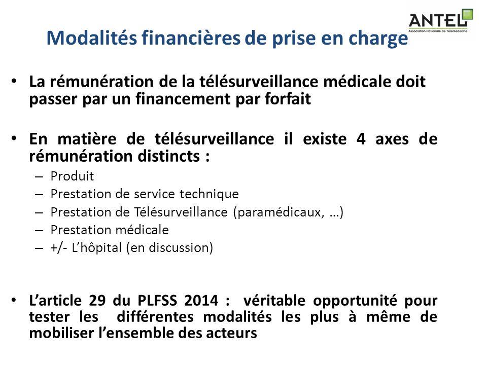Modalités financières de prise en charge La rémunération de la télésurveillance médicale doit passer par un financement par forfait En matière de télé