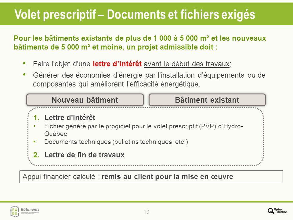13 Volet prescriptif – Documents et fichiers exigés Bâtiment existant Nouveau bâtiment 1.Lettre d'intérêt Fichier généré par le progiciel pour le vole