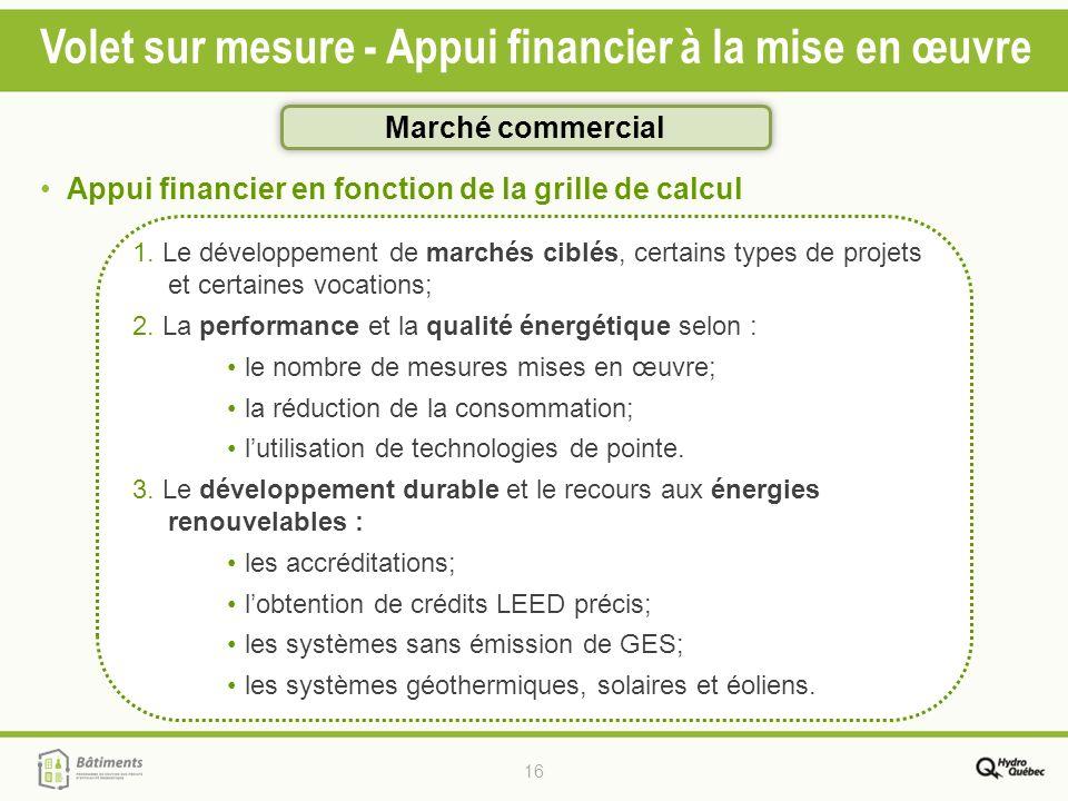 16 Volet sur mesure - Appui financier à la mise en œuvre 1. Le développement de marchés ciblés, certains types de projets et certaines vocations; 2. L
