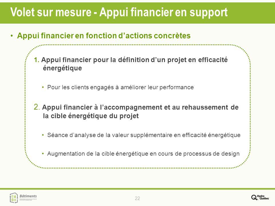 22 Volet sur mesure - Appui financier en support 1. Appui financier pour la définition dun projet en efficacité énergétique Pour les clients engagés à