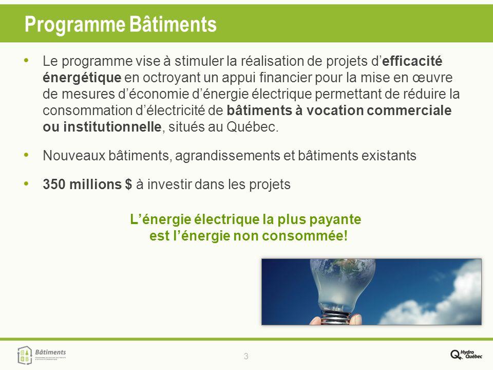 3 Programme Bâtiments Le programme vise à stimuler la réalisation de projets defficacité énergétique en octroyant un appui financier pour la mise en œ