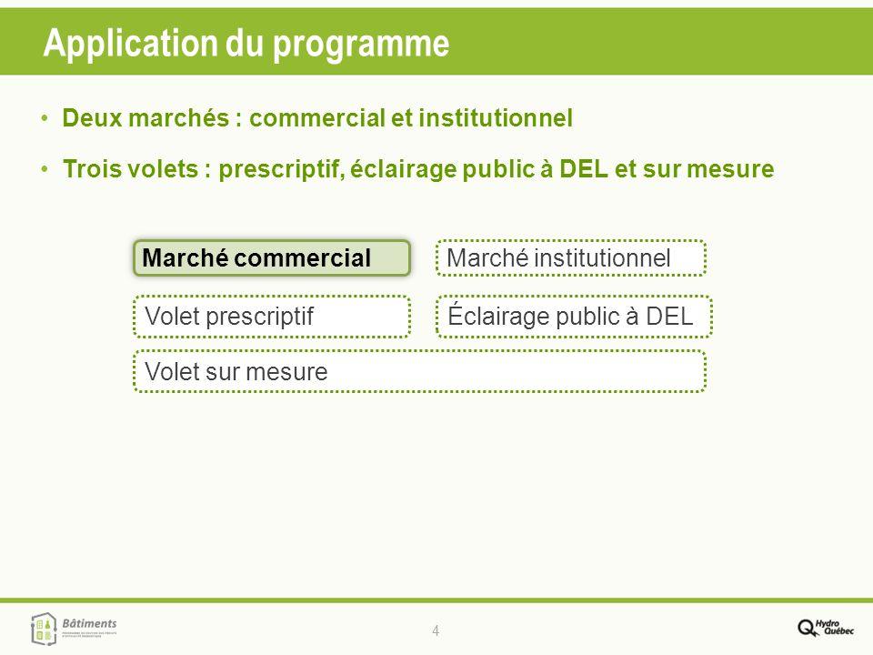 4 Application du programme Marché commercial Marché commercialMarché institutionnel Volet sur mesure Volet prescriptif Deux marchés : commercial et in