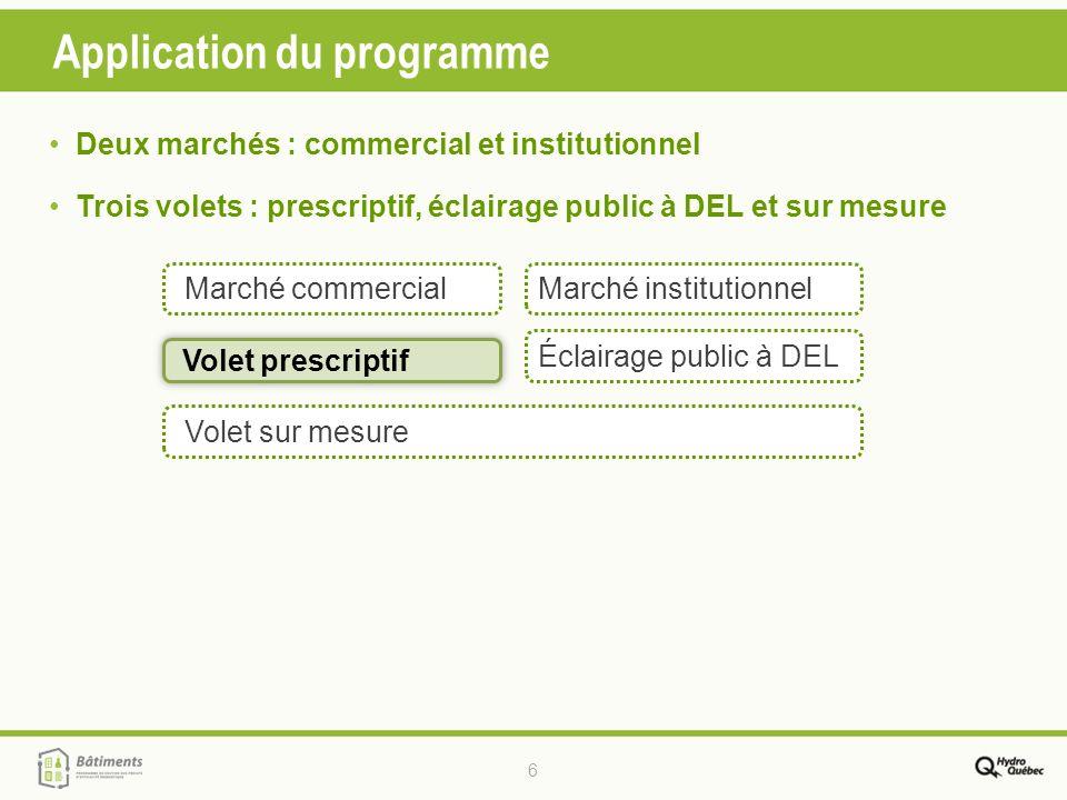 6 Application du programme Volet prescriptif Volet sur mesure Marché commercialMarché institutionnel Éclairage public à DEL Deux marchés : commercial