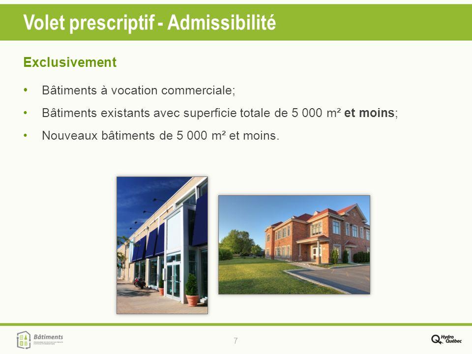 7 Volet prescriptif - Admissibilité Exclusivement Bâtiments à vocation commerciale; Bâtiments existants avec superficie totale de 5 000 m² et moins; N