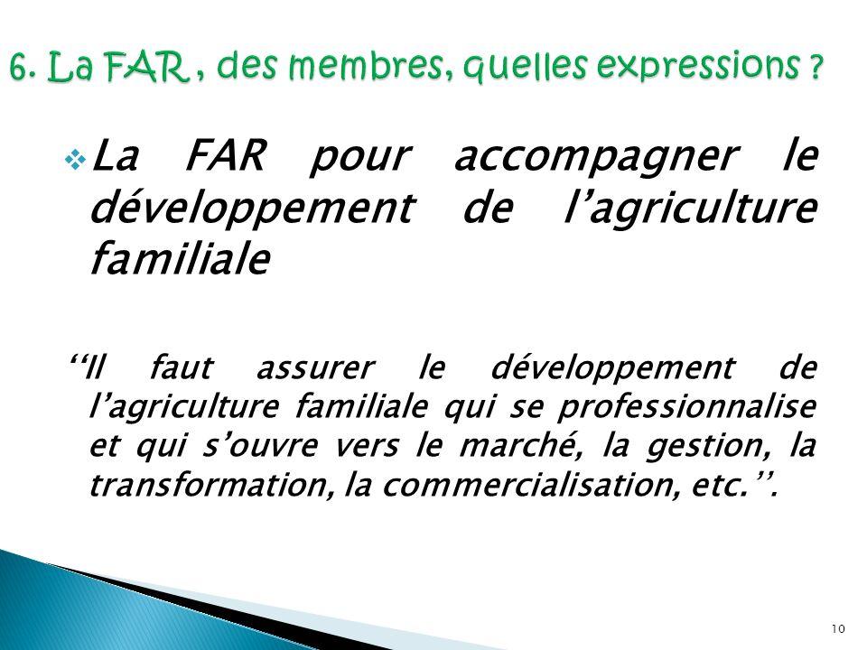 10 La FAR pour accompagner le développement de lagriculture familiale Il faut assurer le développement de lagriculture familiale qui se professionnali