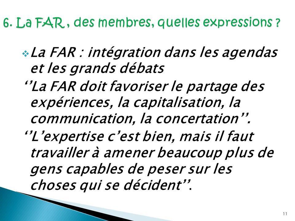 11 La FAR : intégration dans les agendas et les grands débats La FAR doit favoriser le partage des expériences, la capitalisation, la communication, l