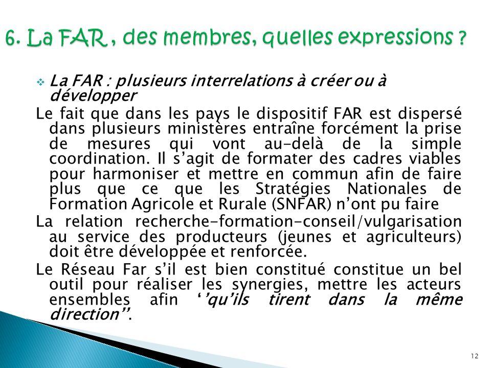 12 La FAR : plusieurs interrelations à créer ou à développer Le fait que dans les pays le dispositif FAR est dispersé dans plusieurs ministères entraî